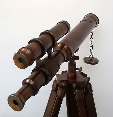 Antique Nautical Navy Brass Telescope With Wooden Tripod Stand  Gift item