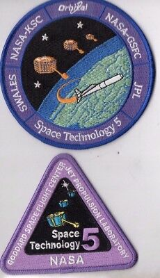 Orig NASA JPL Goddard USAF Pegasus Launched STP-5 Satellite Launch Patch Set-2pc
