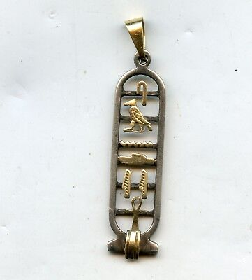 Egyptian Sterling Silver Cartouche 18K Hieroglyphics