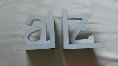 Sicura Italian Designs A To Z Bookends Shabby Blue