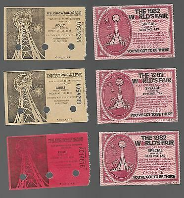 1982 Knoxville World's Fair World Admission Tickets Lot of 6