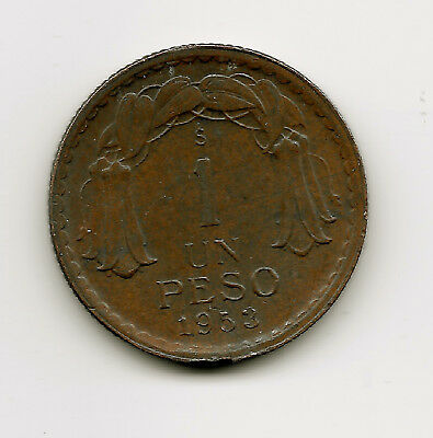 World Coins - Chile 1 Peso 1953 Coin KM# 179