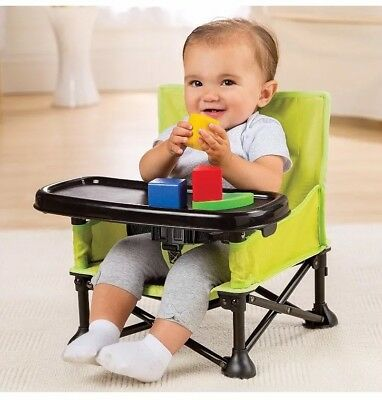 Summer Infant Pop and Sit Portable Booster Seat Green/grey Baby Dine Play Chair