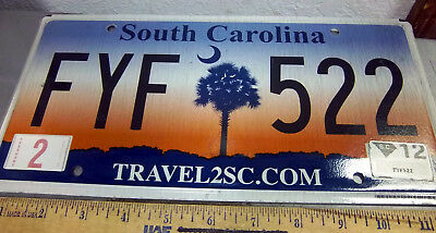 South Carolina Metal License Plate 2012 issue, beautiful Palm Tree logo, FYF 522