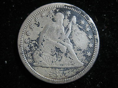 1877 Cc Us Seated Liberty Quarter 25 Cent Coin