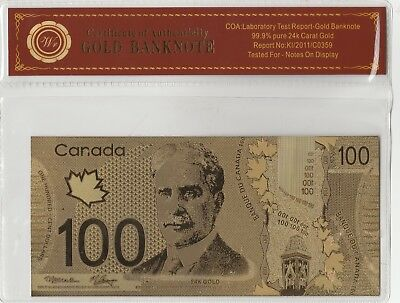 24 Karat Gold Canadian 100 dollar Bill with Certificate of Authenticity