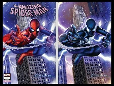 AMAZING SPIDERMAN 1 GREG HORN A & B VIRGIN VARIANT 2 BOOK SET NM vol 5 2018