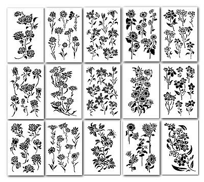 15 Flower Stencils set for Wall Decorating Airbrush model painting Crafts Tattoo