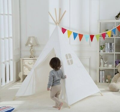 100% Cotton Kids Play Teepee Tent House with One Window for Indoor or Outdoor