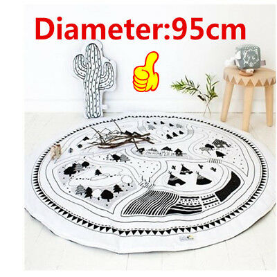 Soft Cotton Baby Kids Game Gym Activity Play Mat Crawling Blanket Floor Rug Y8