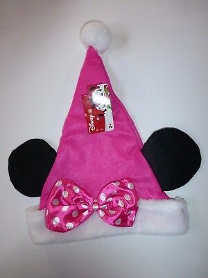 Disney Pink Minnie Mouse Santa Felt Christmas Hat with Pink Polka Dot Bow New