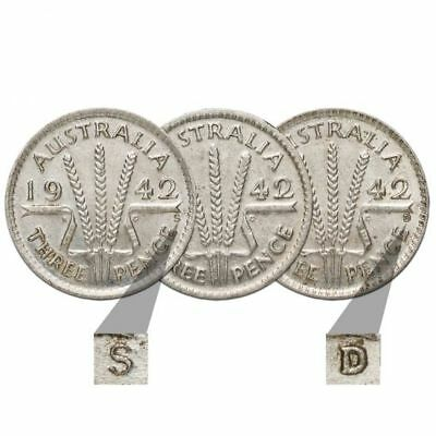 """1942 M,1942 D, 1942 S """" Threepence 3d """" Complete Mintmark Set of 3 Coins VF"""