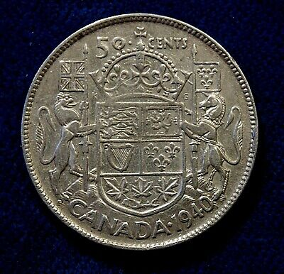 CANADA Canadian 1940 silver fifty 50 cent cent piece half dollar coin
