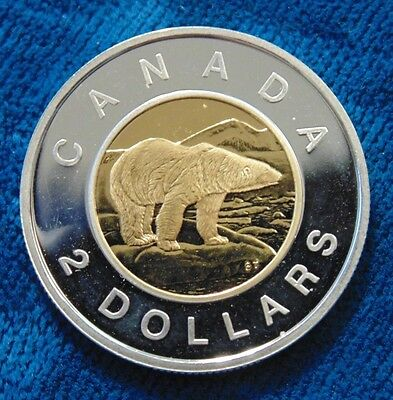 2009  TOONIE CANADA sterling silver .925 POLAR BEAR TWO DOLLARS coin PL BU