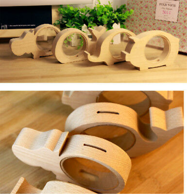 Creative Handcrafted Wooden Piggy Bank Saving Money Coin Box for Kids Tool Y8