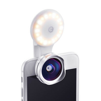 2-in-1 Lens Set Selfie Light 15X Marco 110° Wide Angle Lens for iPhone8 7 TK314