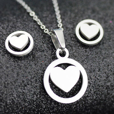 Fashion heart Pendant Stainless steel earring necklace Set Jewelry