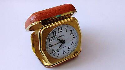 Vintage Mid Century Europa Travel Wind Up Alarm Clock (2 Jewels)