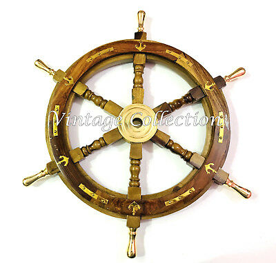 """24"""" Nautical Antique Brass Ring Wooden Ship Steering Wheel Vintage Wall Decor"""