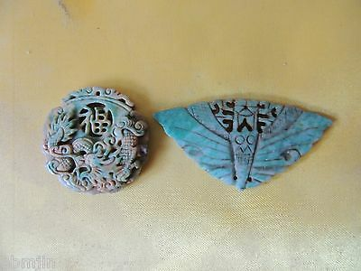 2. Vintage Green Stone for Necklace 2pcs/set with Dragon and Butterfly