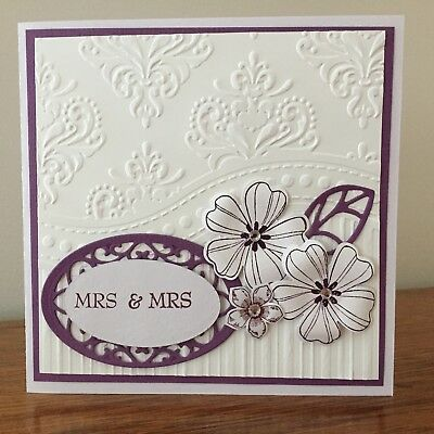 Same Sex Wedding Card - Mrs & Mrs - white & purple, embossed  with flowers