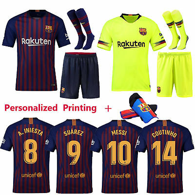 2019 New Soccer Kids Youth 3-12 Yrs Kit Short Sleeve Jersey Outfit+Socks+Kneepad