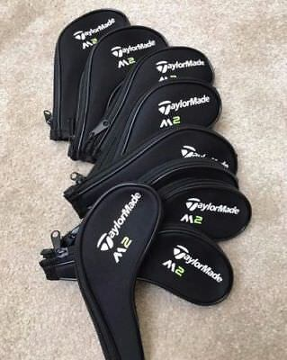 10 PCS Black Neoprene Taylormade M2 Iron Golf Club Long Zipped Covers HeadCovers