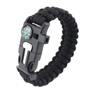 5in1 Flint Fire Starter Survival Paracord Bracelet Whistle Compass Gear Tool Kit