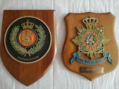 Holland army, 2 x regimental mess plaques
