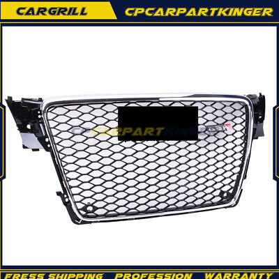 Front Grill Upper Grille For Audi A4 S4 B8 RS 2009-2012 Chrome Honeycomb Mesh