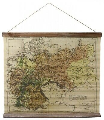 Map historic antique style wall roll map school print prussia western germany