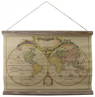 Map historic roll map antique style wall map continent antique style Mappe Monde