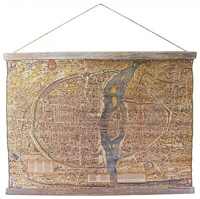 Map historic roll map antique style wall map Paris France