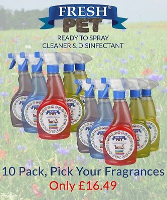 Fresh Pet Spray Cleaner Paw Safe Disinfectant - Mixed 10 Pack