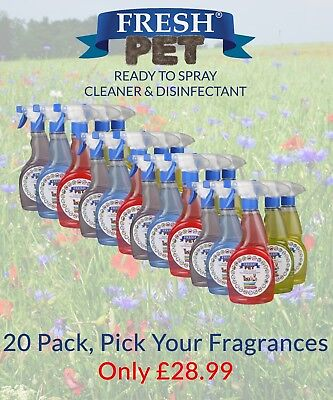 Fresh Pet Ready to Spray Cleaner Paw Friendly Disinfectant - Mixed 20 Pack