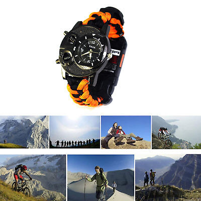 Paracord Survival Watch Bracelet Compass Flint Fire Starter Thermometer Whistle