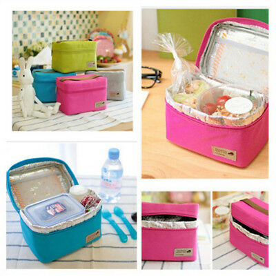 67b0f945bc3a 2 pcs Lunch Box Tote Food Storage Bag Bento Pouch Container Rose Red+Grey