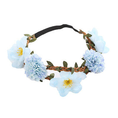 Sweet Baby Blue Flower Leaf Garland Hairband Corona Nupcial Diadema