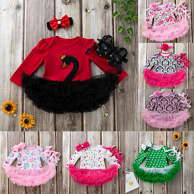 Newborn Infant Baby Girls Toddler Romper Tutu Dress Headband Shoes Outfits Set