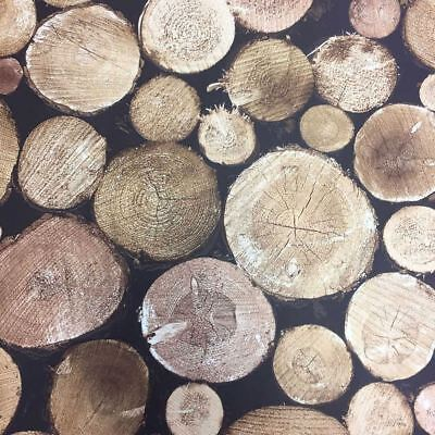 Grandeco Stacked Chopped Tree Wood Room Logs Burner Feature Wallpaper 106201