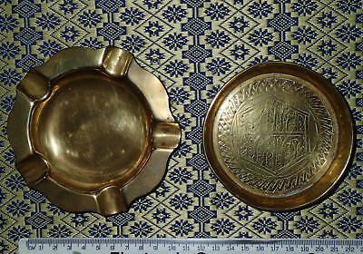 Brass ASHTRAYS x 2 with Engraved Pattern USED ~ FREE POST