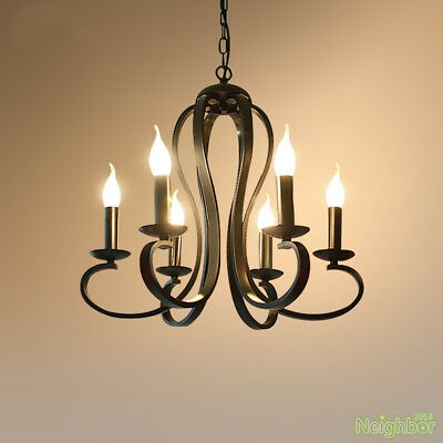 Modern Irish pendant lamp wrought iron 6 lights candle chandelier LED lighting
