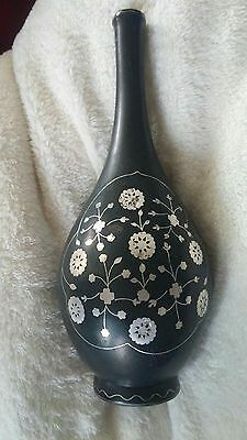 "ANTIQUE BIDRI VASE, sterling silver inlay, flowers+ woman 7""tall, heavy Amazing"