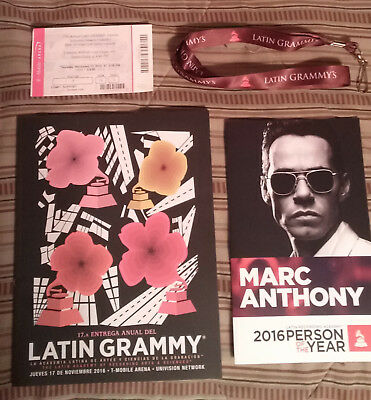 2016 17th Latin Grammy Awards TICKET + PROGRAM BOOK + SWAG BAG + Marc Anthony
