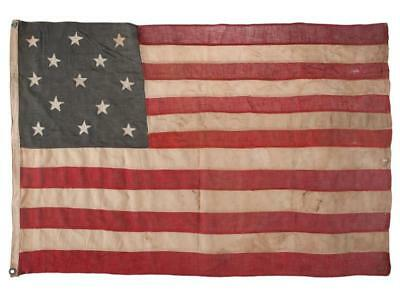 13 Star Vintage American Flag of Worsted Wool, Likely 1890's or Later Lot 6