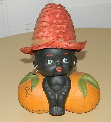 Vtg Black Americana Bobble Head Nodder Bank 60'S Florida Orange Souvenir Nice