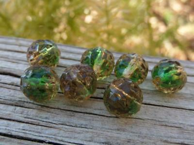 Beautiful Vintage Dimpled Givre Green & Tan Old German Glass Loose Beads 10mm