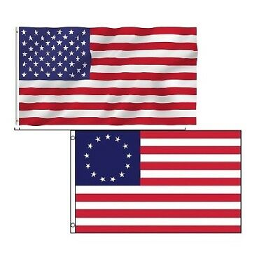 3x5 Betsy Ross Historical USA Banner And USA 50 Stars Poly Flag Set Of 2