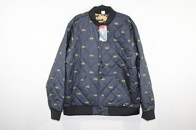 New THE NORTH FACE Mens Medium Reversible Quilted Outdoor Bomber Jacket Black