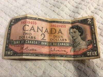 1954 Bank of Canada Canadian $2 Two Dollar Bill Note NU8539455 Circulated